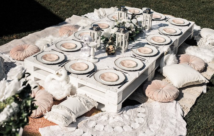Boho Pallet Board Guest Table from a Boho Swan Princess Birthday Party on Kara's Party Ideas | KarasPartyIdeas.com (28)