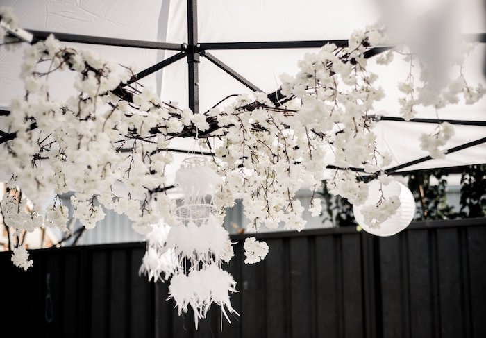 White Blossom & Feather Chandelier from a Boho Swan Princess Birthday Party on Kara's Party Ideas | KarasPartyIdeas.com (9)