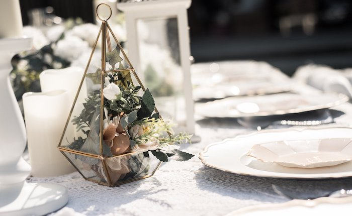Modern Floral Table Centerpiece from a Boho Swan Princess Birthday Party on Kara's Party Ideas | KarasPartyIdeas.com (8)