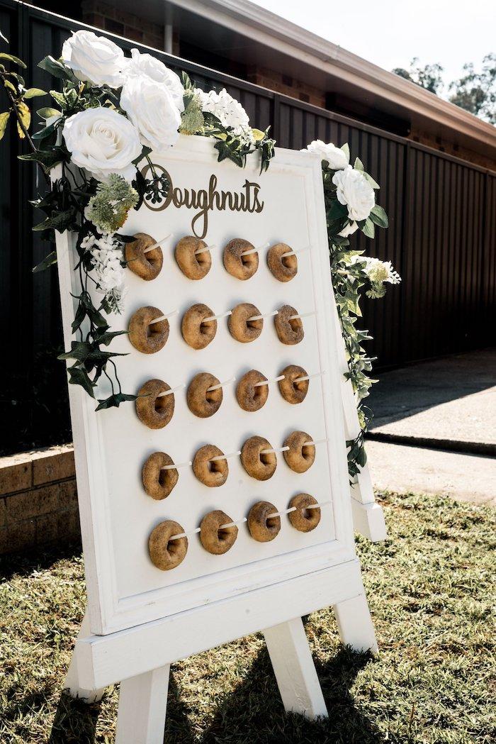 White Floral Doughnut Board from a Boho Swan Princess Birthday Party on Kara's Party Ideas | KarasPartyIdeas.com (27)