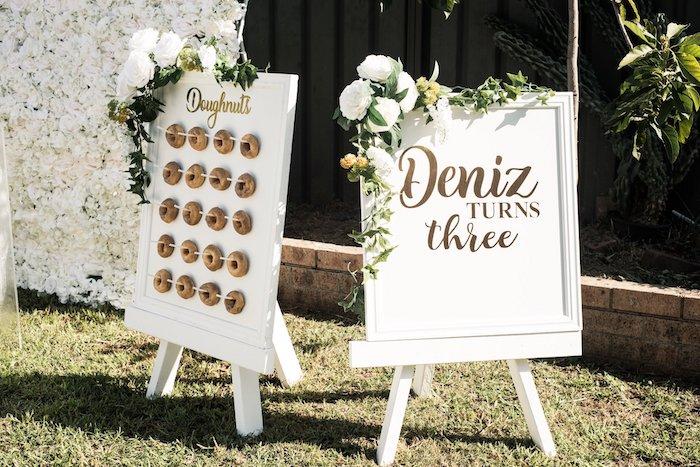 Doughnut Board + Signage from a Boho Swan Princess Birthday Party on Kara's Party Ideas | KarasPartyIdeas.com (23)