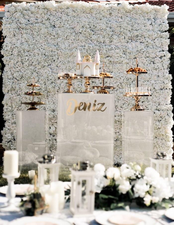 Elegant Floral Backdrop Dessert Table from a Boho Swan Princess Birthday Party on Kara's Party Ideas   KarasPartyIdeas.com (21)
