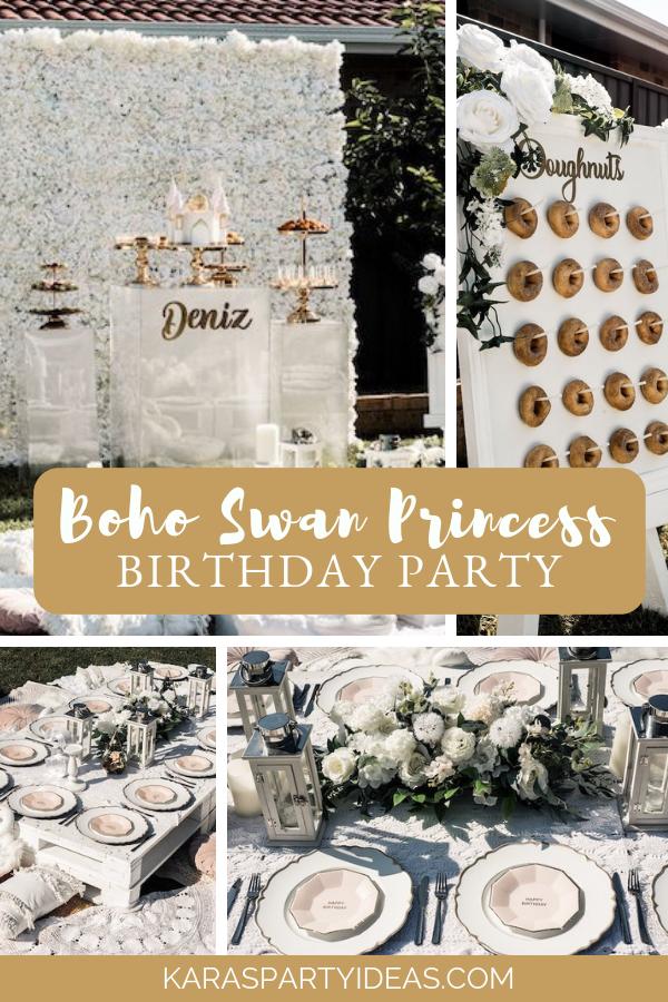 Boho Swan Princess Birthday Party via Kara's Party Ideas - KarasPartyIdeas.com