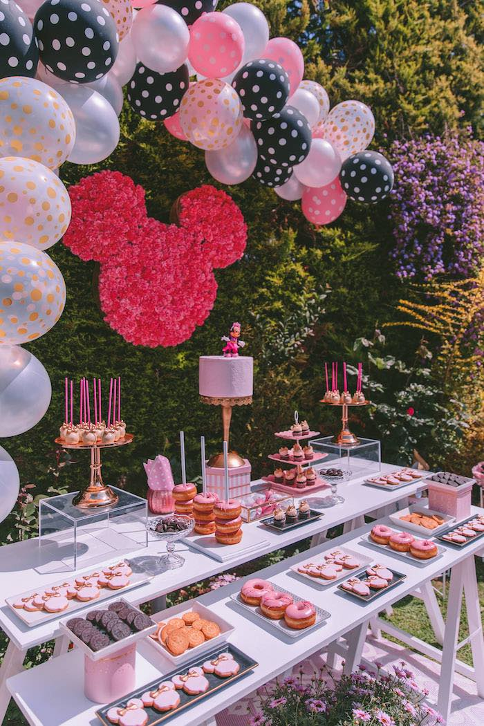 Minnie Mouse Dessert Table from a Boutique Minnie Mouse Birthday Party on Kara's Party Ideas | KarasPartyIdeas.com (16)