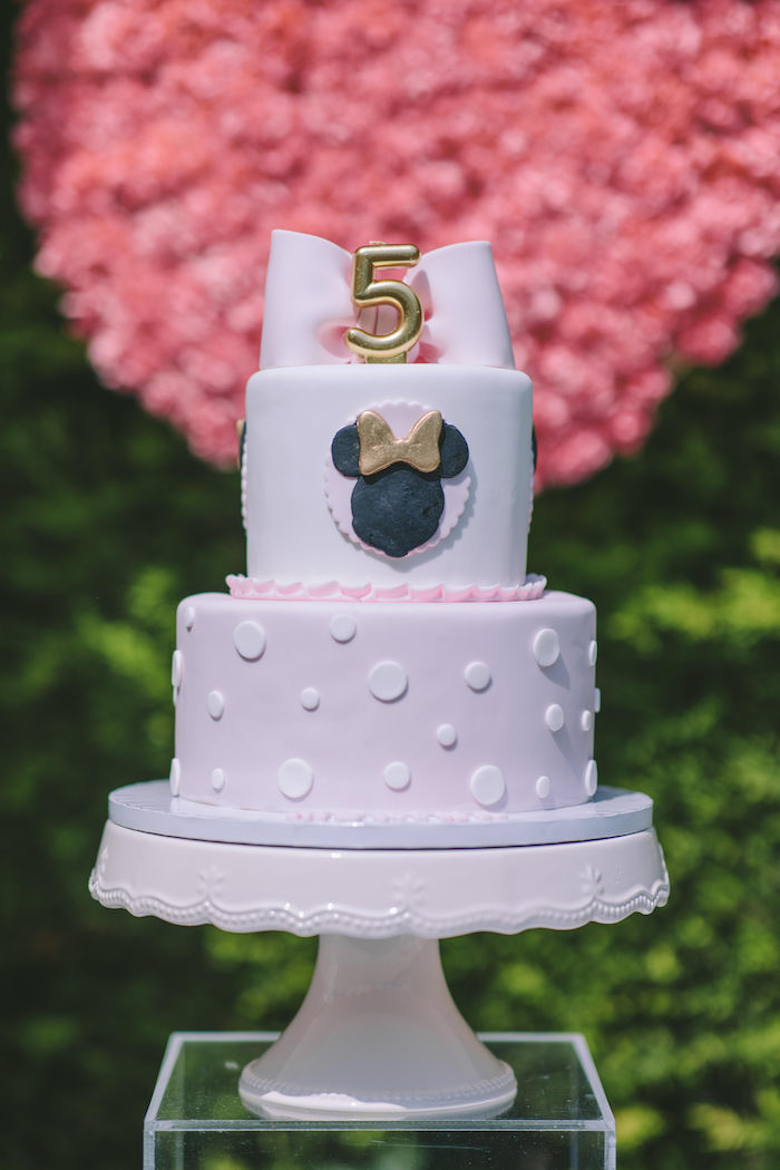 Minnie Mouse Cake from a Boutique Minnie Mouse Birthday Party on Kara's Party Ideas | KarasPartyIdeas.com (12)