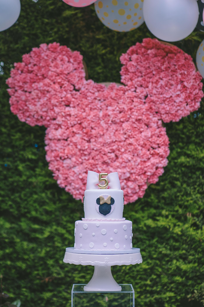 Minnie Mouse Cake + Pedestal from a Boutique Minnie Mouse Birthday Party on Kara's Party Ideas | KarasPartyIdeas.com (11)