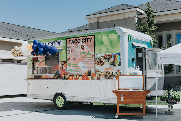 Taco Truck from a Chic Backyard Graduation Party on Kara's Party Ideas | KarasPartyIdeas.com (9)
