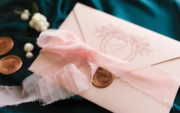 Custom Envelopes on Wedding Invites from a 2019 Wedding Trends from Celebrity Experts via Kara's Party Ideas | KarasPartyIdeas.com