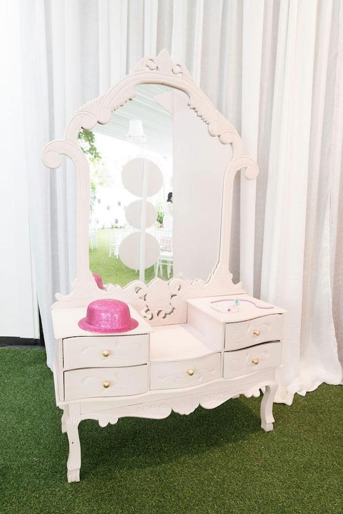 Vanity from a Doll House Birthday Party + Cake on Kara's Party Ideas | KarasPartyIdeas.com (26)