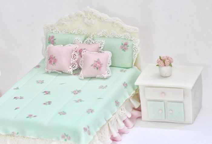 Edible Doll House Bed from a Doll House Birthday Party + Cake on Kara's Party Ideas | KarasPartyIdeas.com (24)