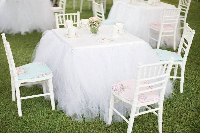 White Tulle Tea Table from a Doll House Birthday Party + Cake on Kara's Party Ideas | KarasPartyIdeas.com (23)