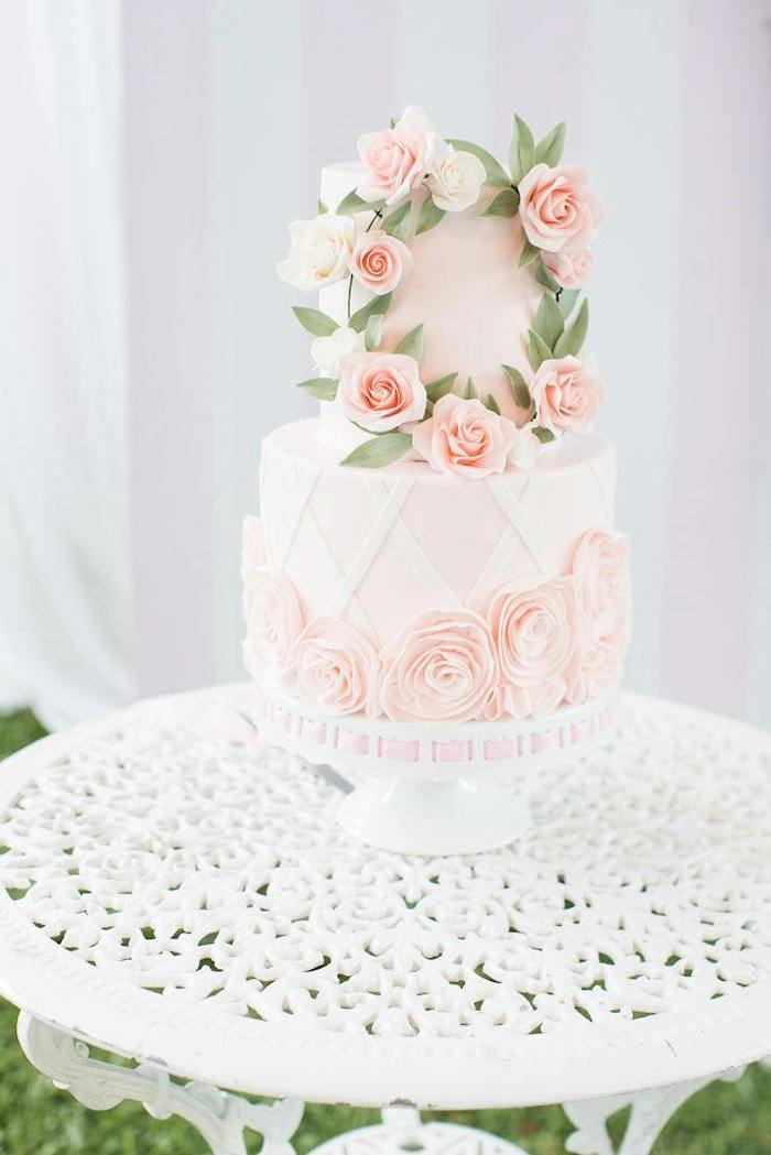 Pink Rose Lattice Cake from a Doll House Birthday Party + Cake on Kara's Party Ideas | KarasPartyIdeas.com (22)