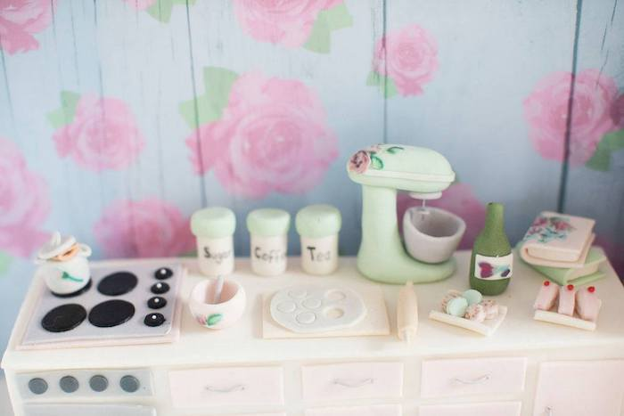Edible Doll House Baking Counter from a Doll House Birthday Party + Cake on Kara's Party Ideas | KarasPartyIdeas.com (20)