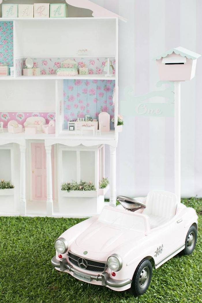 Mercedez Benz Kid Car from a Doll House Birthday Party + Cake on Kara's Party Ideas | KarasPartyIdeas.com (37)