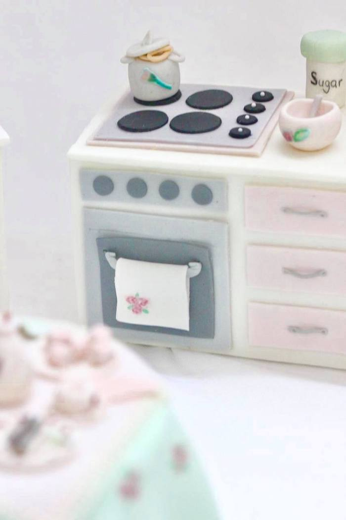 Edible Cake Stovetop + Oven from a Doll House Birthday Party + Cake on Kara's Party Ideas | KarasPartyIdeas.com (17)