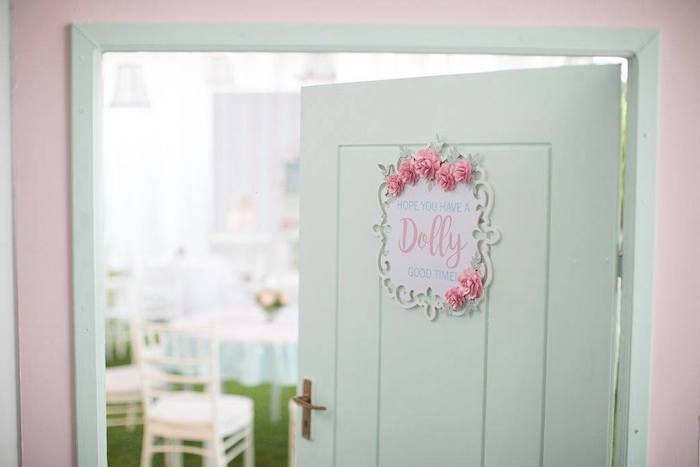 Doll House-inspired Door Entrance from a Doll House Birthday Party + Cake on Kara's Party Ideas | KarasPartyIdeas.com (16)