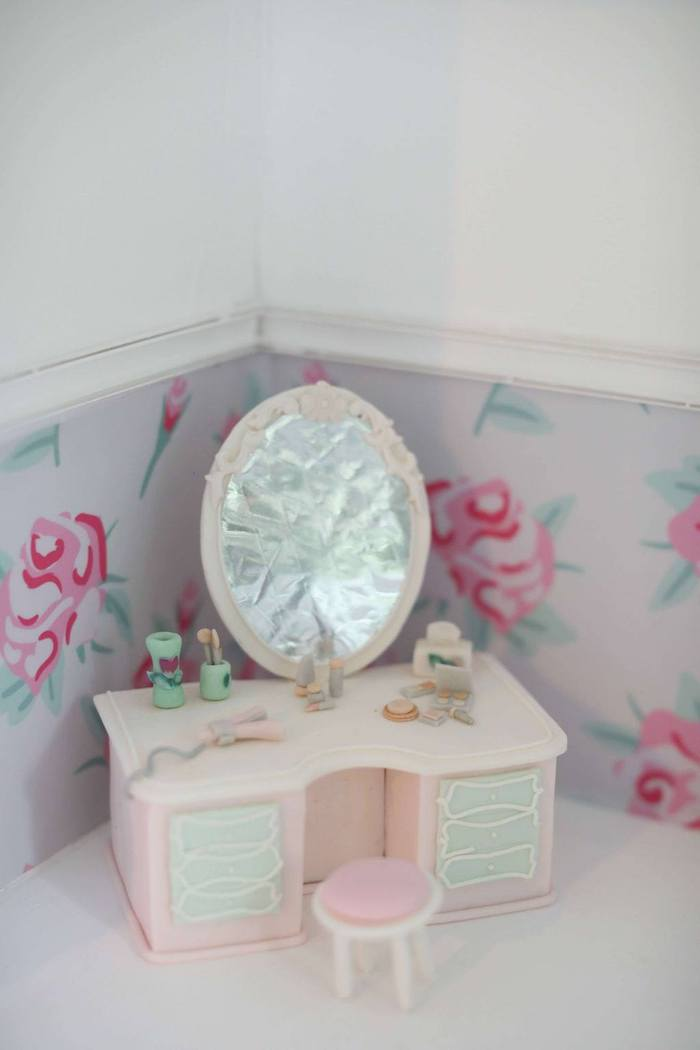 Edible Vanity from a Doll House Birthday Party + Cake on Kara's Party Ideas | KarasPartyIdeas.com (15)