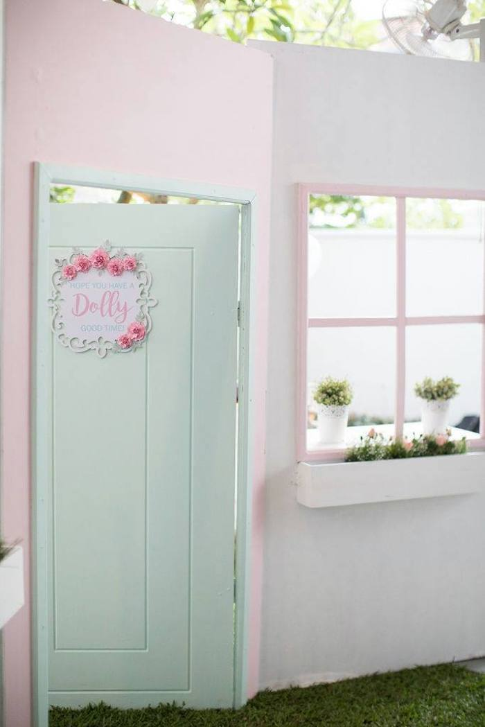 Doll House Door Party Entrance from a Doll House Birthday Party + Cake on Kara's Party Ideas | KarasPartyIdeas.com (12)