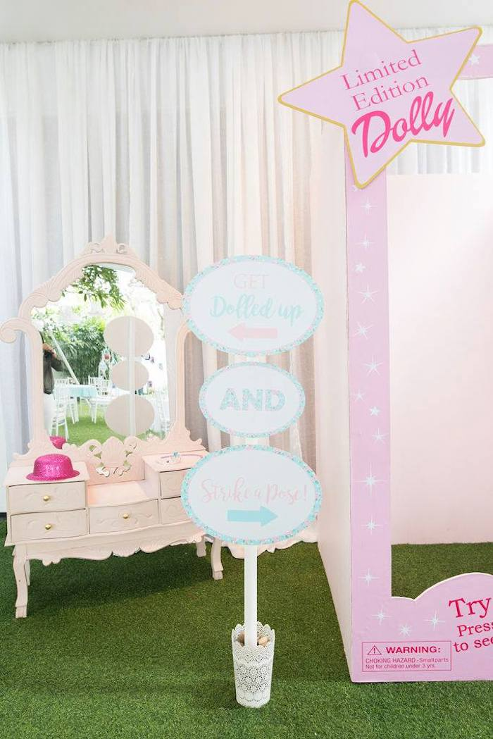 Vanity + Doll Box Photo Booth from a Doll House Birthday Party + Cake on Kara's Party Ideas | KarasPartyIdeas.com (11)