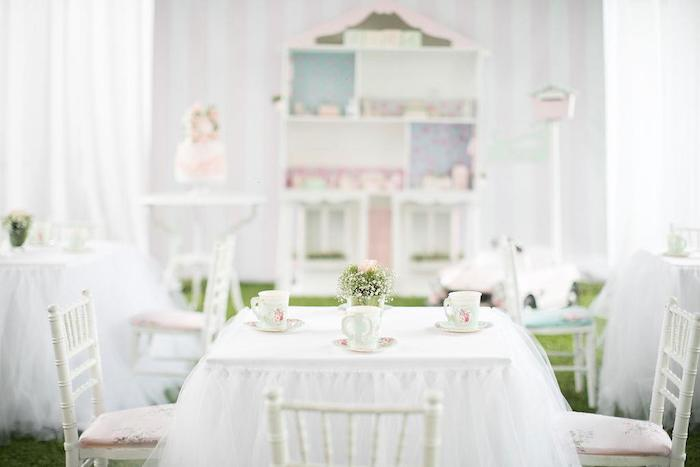 Tea Table from a Doll House Birthday Party + Cake on Kara's Party Ideas | KarasPartyIdeas.com (6)