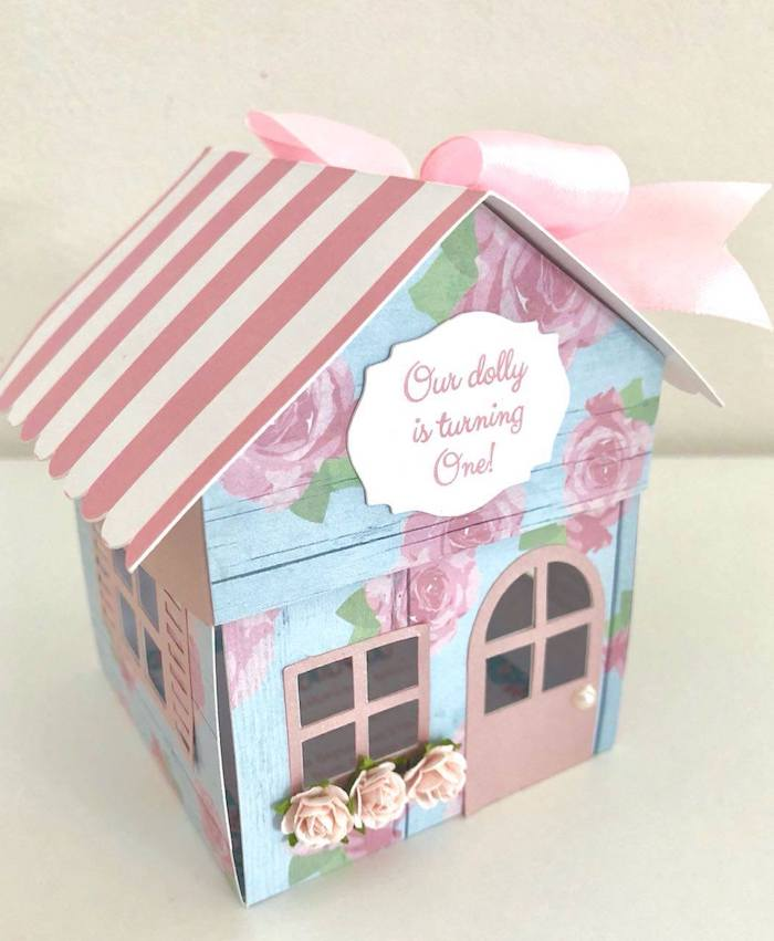 Doll House Party Invite + Box from a Doll House Birthday Party + Cake on Kara's Party Ideas | KarasPartyIdeas.com (5)