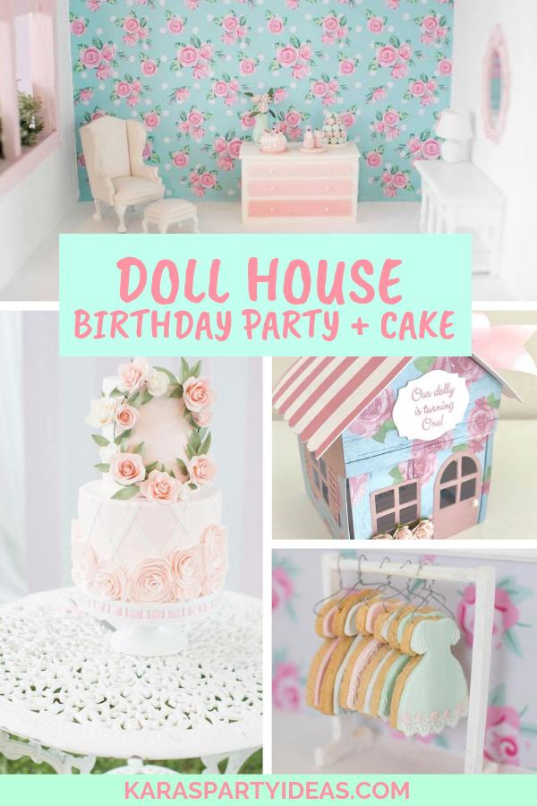Doll House Birthday Party and Cake via Kara's Party Ideas - KarasPartyIdeas.com