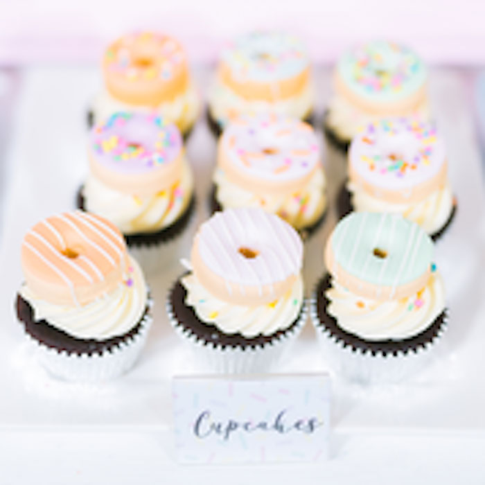 Donut-inspired Cupcakes from a Donut-Land Birthday Party on Kara's Party Ideas | KarasPartyIdeas.com (14)