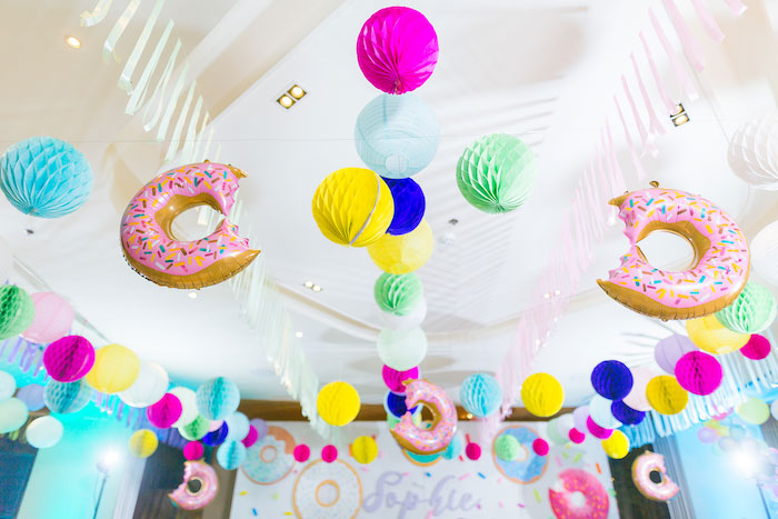 Donut Balloon & Tissue Ball Ceiling from a Donut-Land Birthday Party on Kara's Party Ideas | KarasPartyIdeas.com (13)