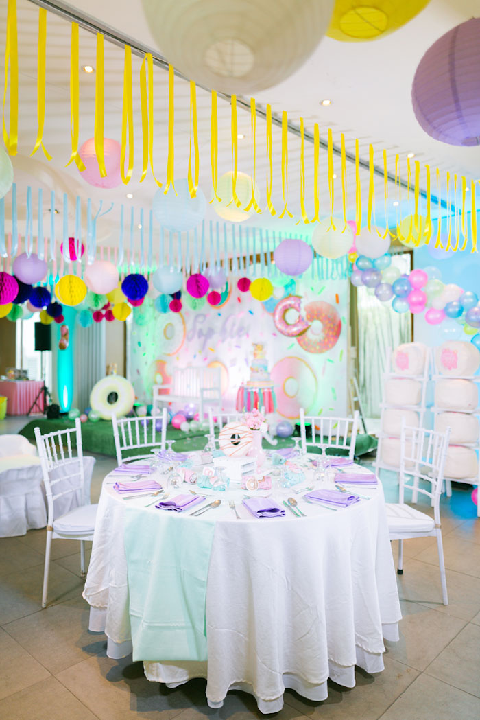 Guest Table from a Donut-Land Birthday Party on Kara's Party Ideas | KarasPartyIdeas.com (11)