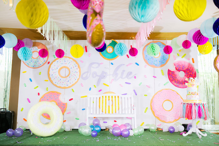Donuts & Sprinkles Photo Booth + Backdrop from a Donut-Land Birthday Party on Kara's Party Ideas | KarasPartyIdeas.com (9)