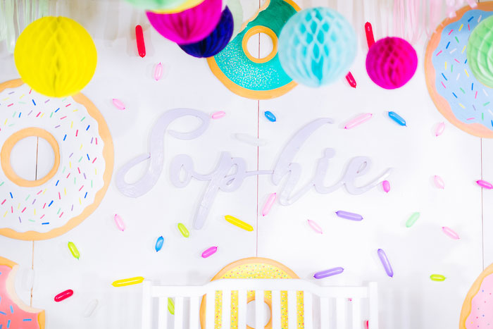 Sprinkled Name Sign from a Donut-Land Birthday Party on Kara's Party Ideas | KarasPartyIdeas.com (8)
