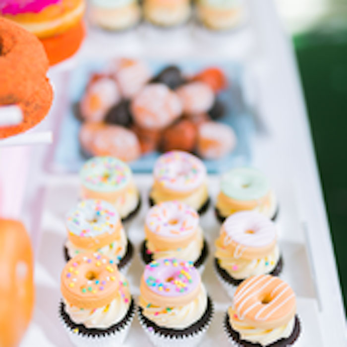 Donut-topped Cupcakes from a Donut-Land Birthday Party on Kara's Party Ideas | KarasPartyIdeas.com (6)