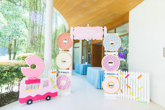 Donut Themed Party Entrance from a Donut-Land Birthday Party on Kara's Party Ideas | KarasPartyIdeas.com (24)