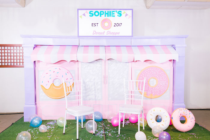 Donut Shoppe Photo Booth from a Donut-Land Birthday Party on Kara's Party Ideas | KarasPartyIdeas.com (22)