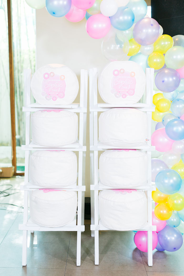 Donut Pouf Favors from a Donut-Land Birthday Party on Kara's Party Ideas | KarasPartyIdeas.com (19)