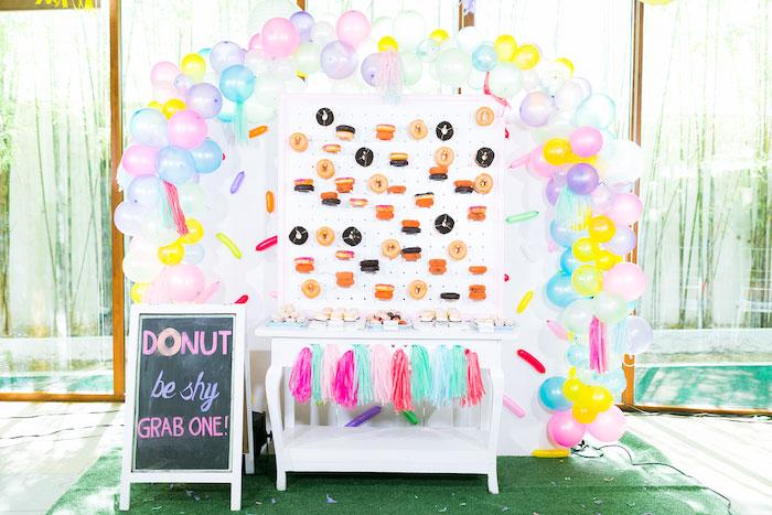 Donut Themed Dessert Table from a Donut-Land Birthday Party on Kara's Party Ideas   KarasPartyIdeas.com (17)