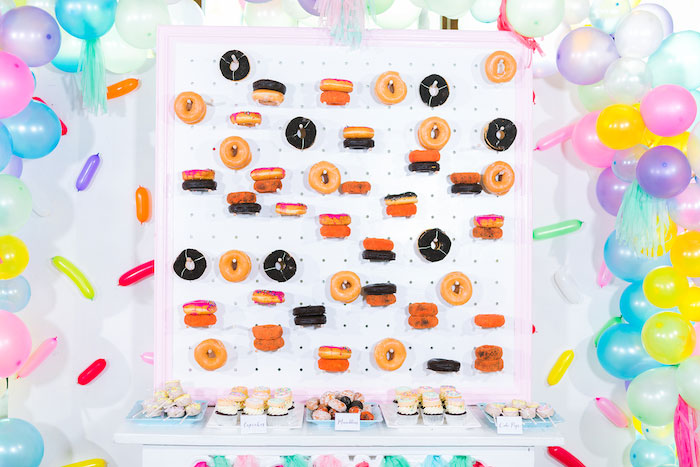 Donut Board Backdrop + Dessert Table from a Donut-Land Birthday Party on Kara's Party Ideas | KarasPartyIdeas.com (16)