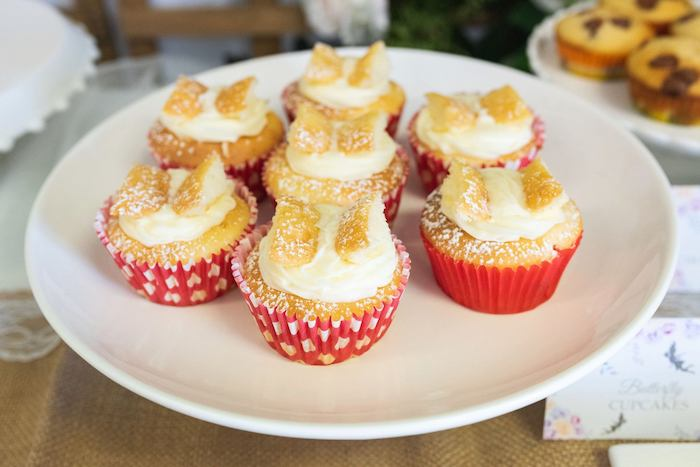 Butterfly Cupcakes from an Enchanted Fairy Garden Birthday Party on Kara's Party Ideas | KarasPartyIdeas.com (13)