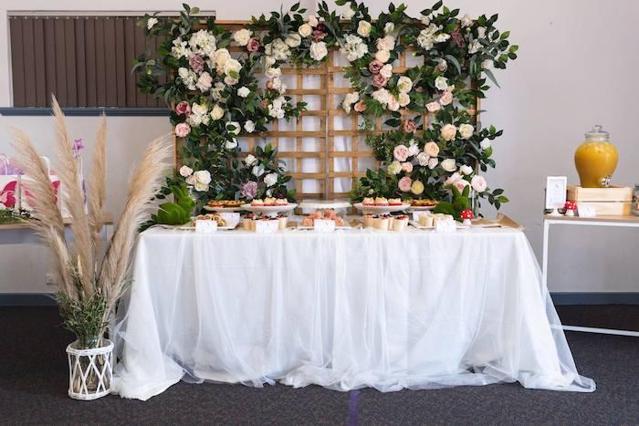 Enchanted Garden-inspired Dessert Table from an Enchanted Fairy Garden Birthday Party on Kara's Party Ideas | KarasPartyIdeas.com (12)