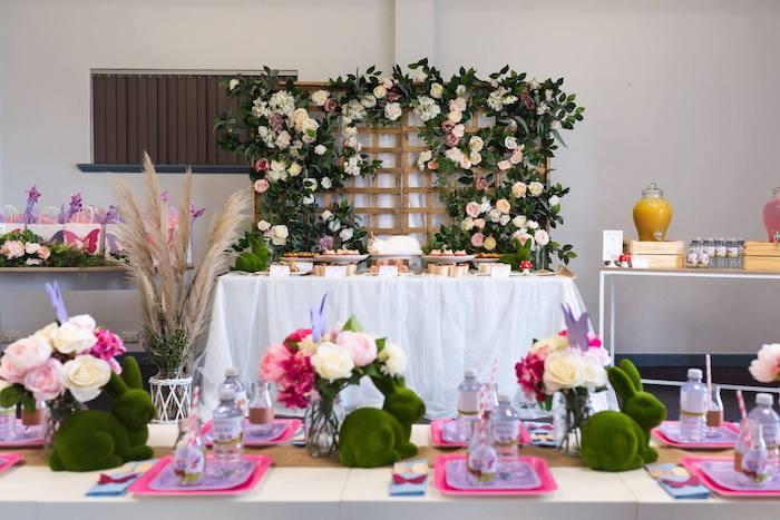 Garden Party Tables from an Enchanted Fairy Garden Birthday Party on Kara's Party Ideas | KarasPartyIdeas.com (10)