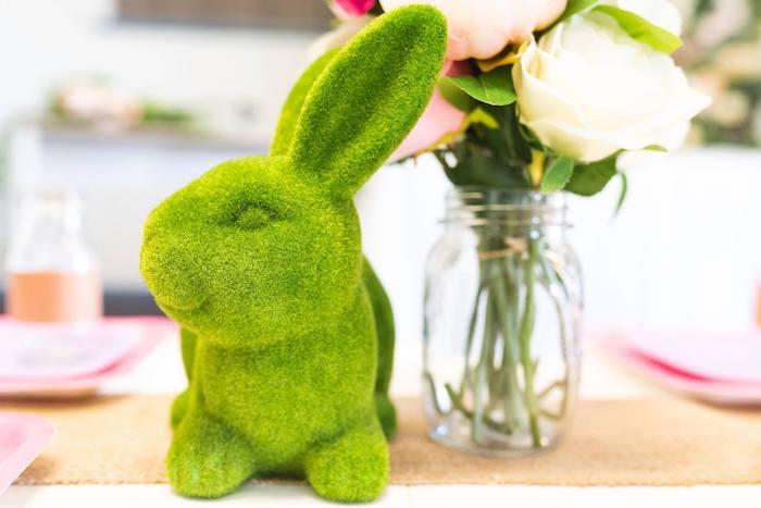 Moss Bunny Table Centerpiece from an Enchanted Fairy Garden Birthday Party on Kara's Party Ideas | KarasPartyIdeas.com (24)