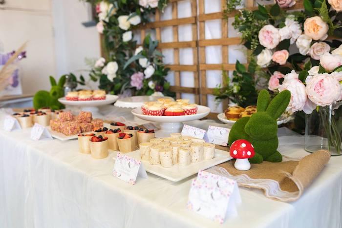 Fairy Garden Party Table from an Enchanted Fairy Garden Birthday Party on Kara's Party Ideas | KarasPartyIdeas.com (23)