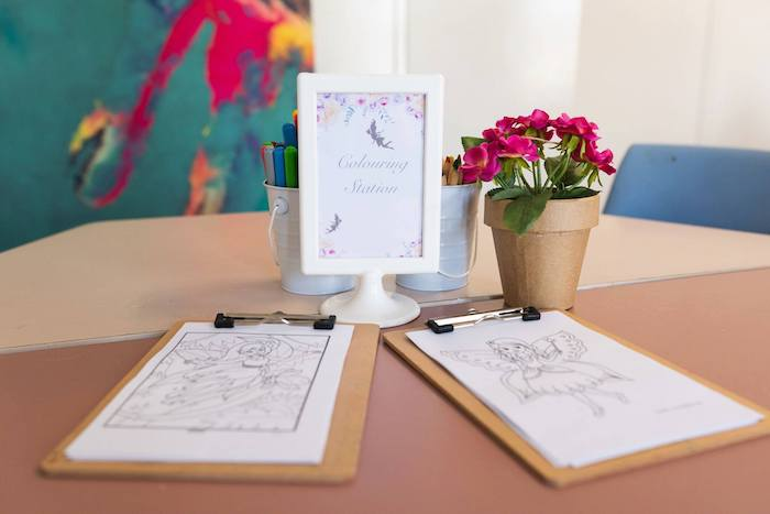 Fairy-inspired Coloring Station from an Enchanted Fairy Garden Birthday Party on Kara's Party Ideas | KarasPartyIdeas.com (21)