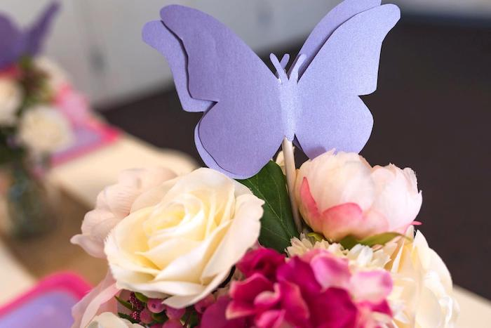 Butterfly Floral Arrangement Topper from an Enchanted Fairy Garden Birthday Party on Kara's Party Ideas | KarasPartyIdeas.com (20)
