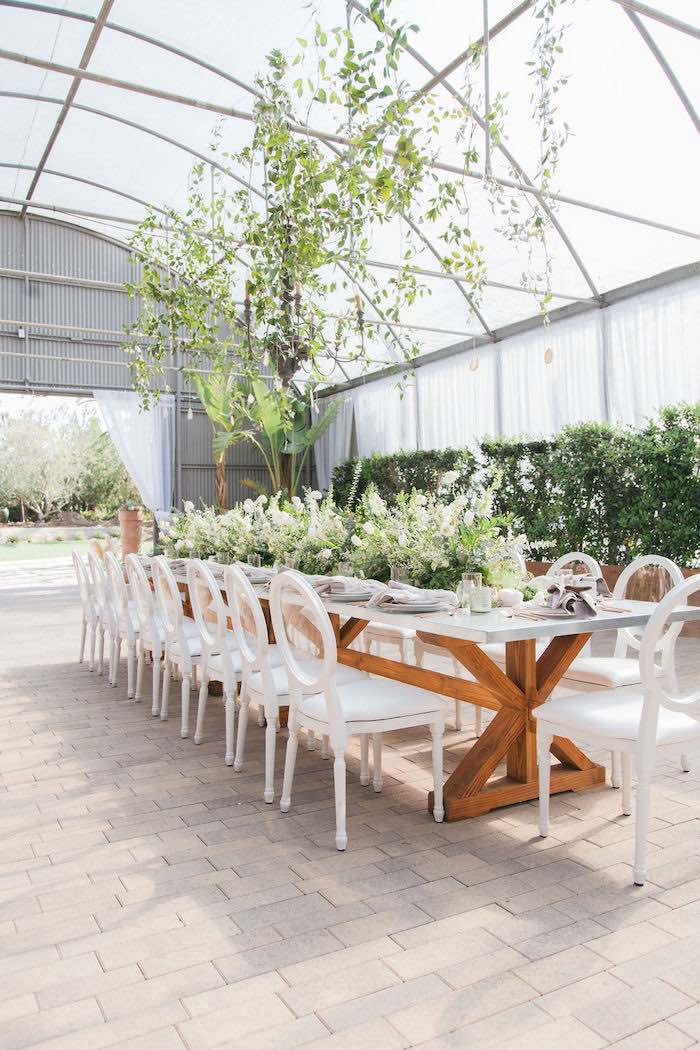 Gorgeous Greenhouse Guest Table from an Ethereal Greenhouse Baby Shower on Kara's Party Ideas | KarasPartyIdeas.com (32)