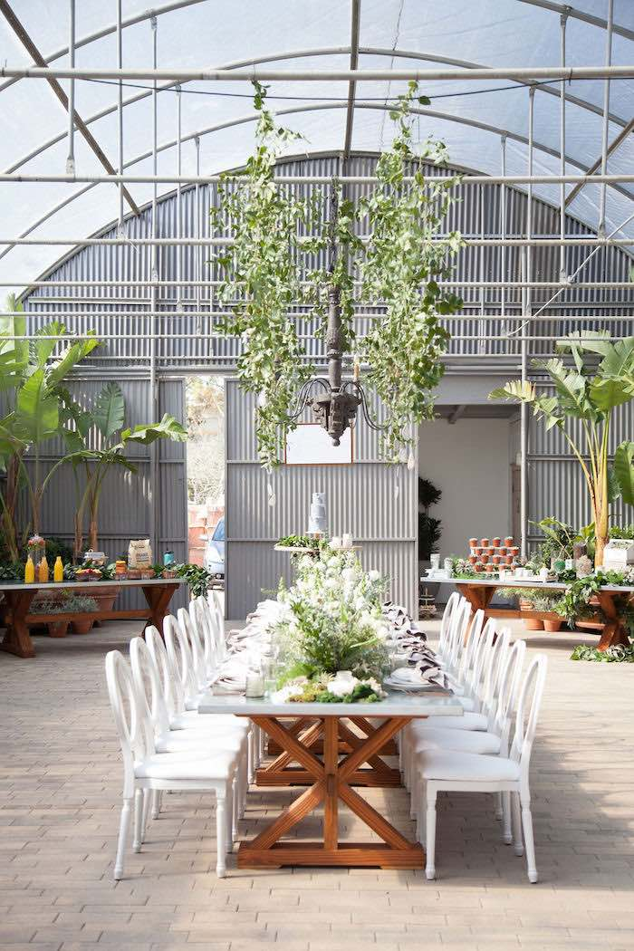 Greenhouse Guest Table from an Ethereal Greenhouse Baby Shower on Kara's Party Ideas | KarasPartyIdeas.com (31)