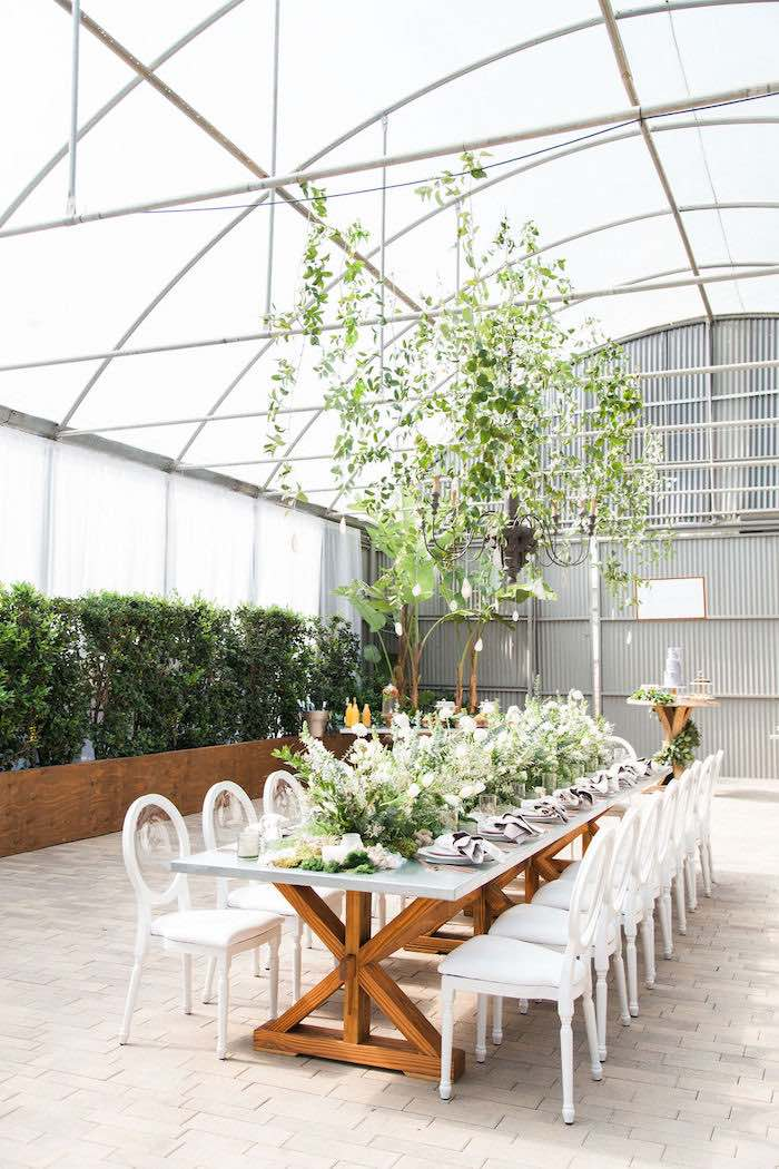 Greenhouse Guest Table from an Ethereal Greenhouse Baby Shower on Kara's Party Ideas | KarasPartyIdeas.com (30)
