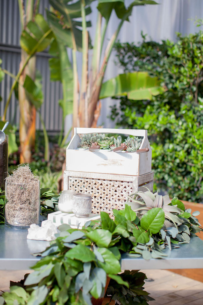 DIY Succulent Favor Station from an Ethereal Greenhouse Baby Shower on Kara's Party Ideas | KarasPartyIdeas.com (24)