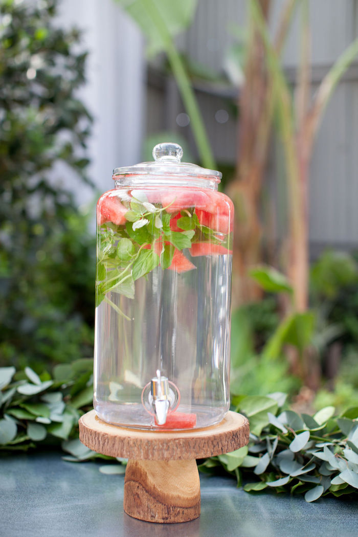 Watermelon & Mint Water + Beverage Dispenser from an Ethereal Greenhouse Baby Shower on Kara's Party Ideas | KarasPartyIdeas.com (18)
