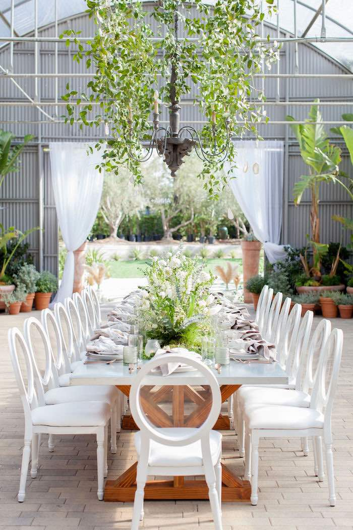 Greenhouse-inspired Guest Table from an Ethereal Greenhouse Baby Shower on Kara's Party Ideas | KarasPartyIdeas.com (40)